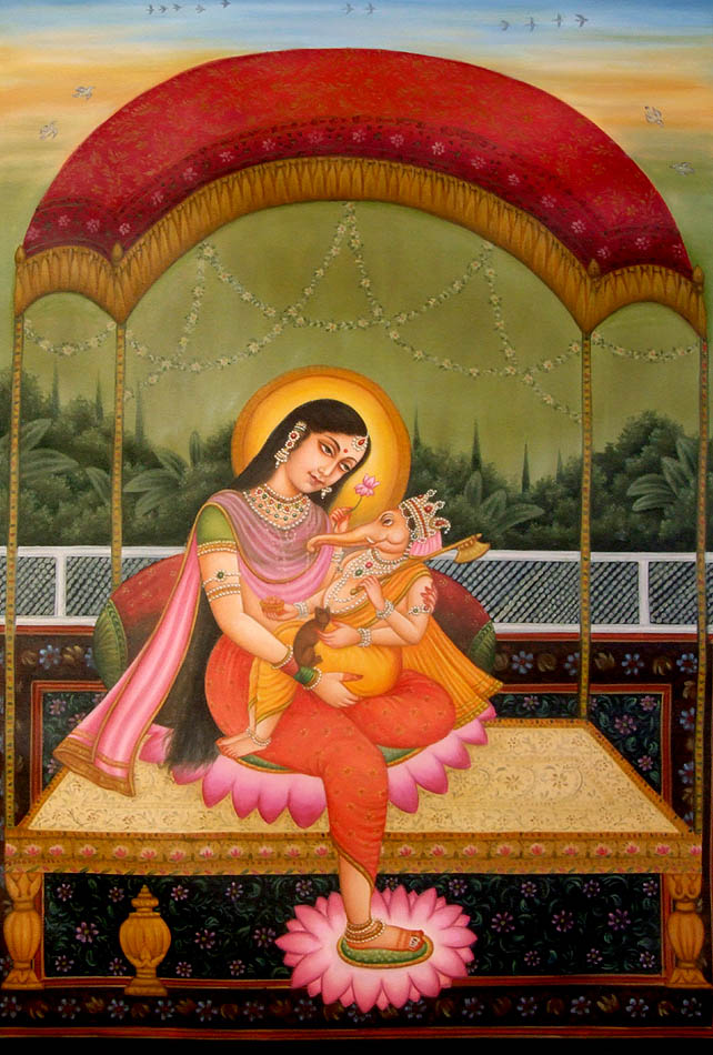 Parvati with Ganesh in Her Lap