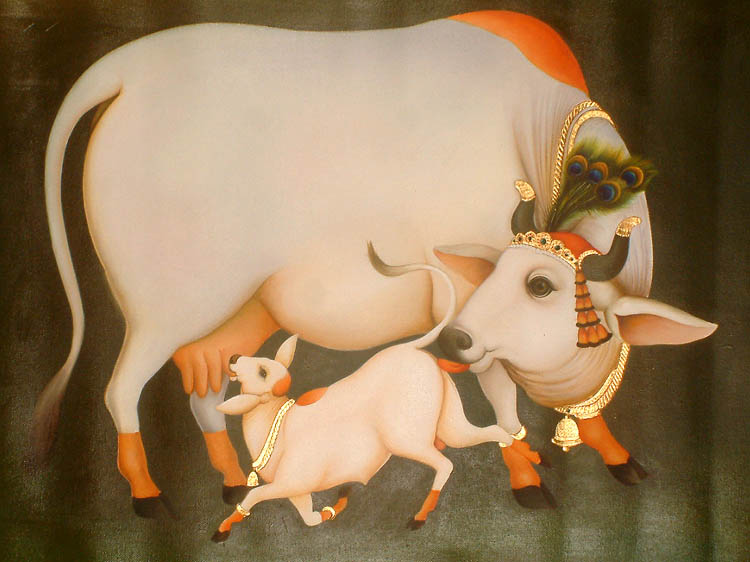 God Krishna With Cow Krishna's Cow