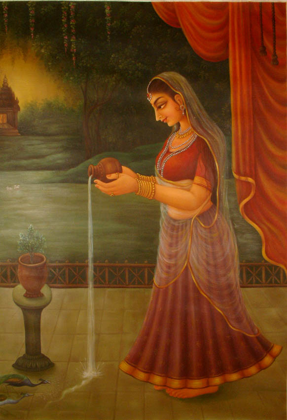 http://www.exoticindiaart.com/oils/offering_water_to_tulsi_oq57.jpg