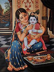 Mother Yashoda Feeding Butter to Baby Krishna