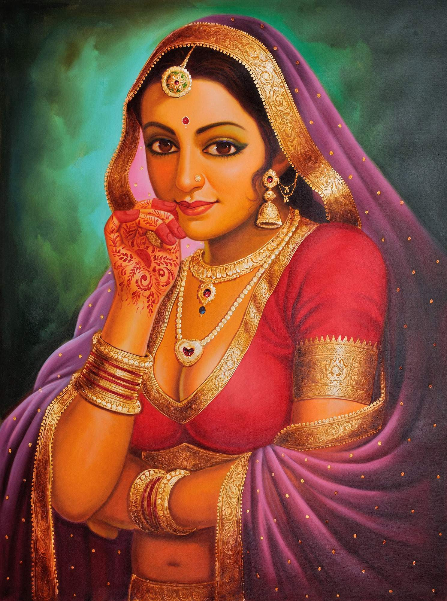 Paintings gt oils gt portrait of a rajasthani bride