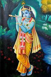 Shri Krishna Blowing His Flute in the Grove of Vrindavan