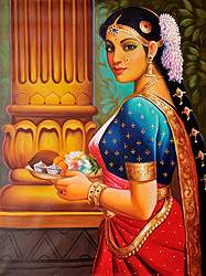 Lady with Puja Thali