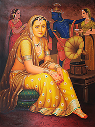 Lady Listening Bhajan in the Backdrop of Krishna and Gopi Figures