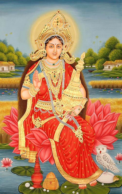 Goddess Lakshmi with Wealth Pot and Owl. Goddess Lakshmi with Wealth Pot and
