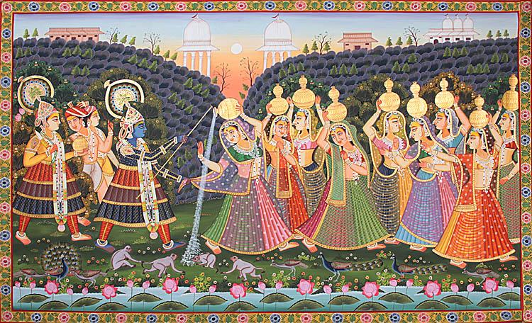 Lord Krishna And Gopis Krishna Teasing Gopis