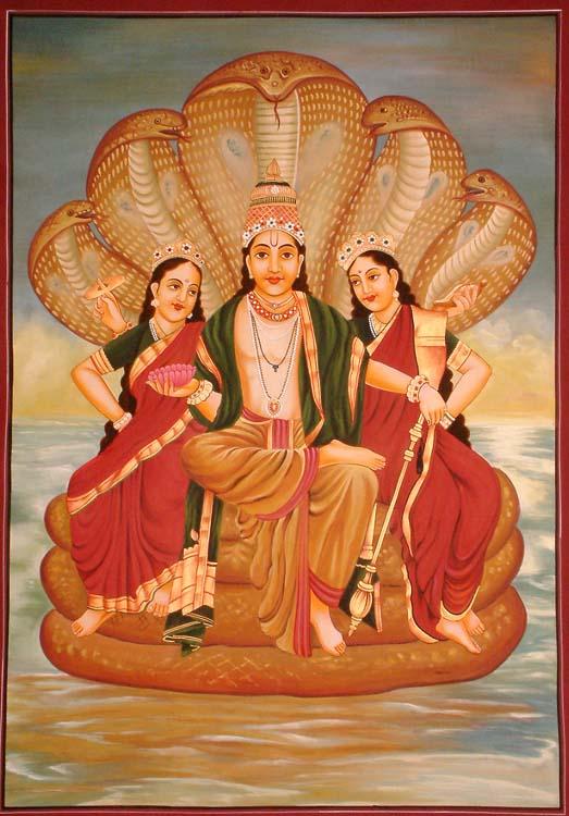 Lord Vishnu with Manifested Energy and Fertility