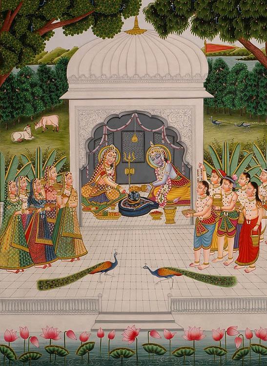 Radha Krishna and Companions Worship the Shiva Linga