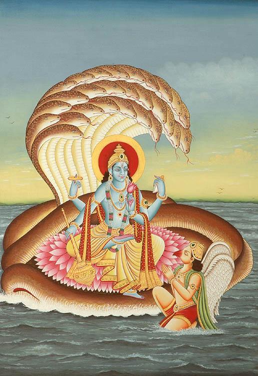 Shri Narayana on Shesha Venerated by Garuda