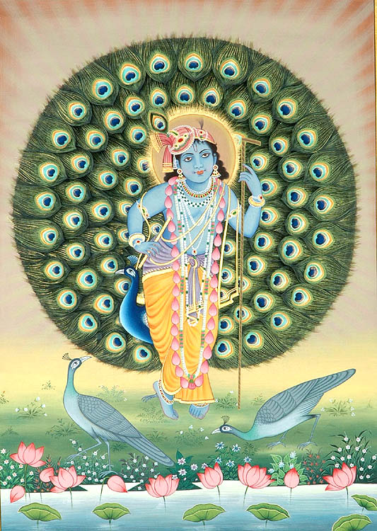 Standing Krishna with Aureole of Peacock Feathers