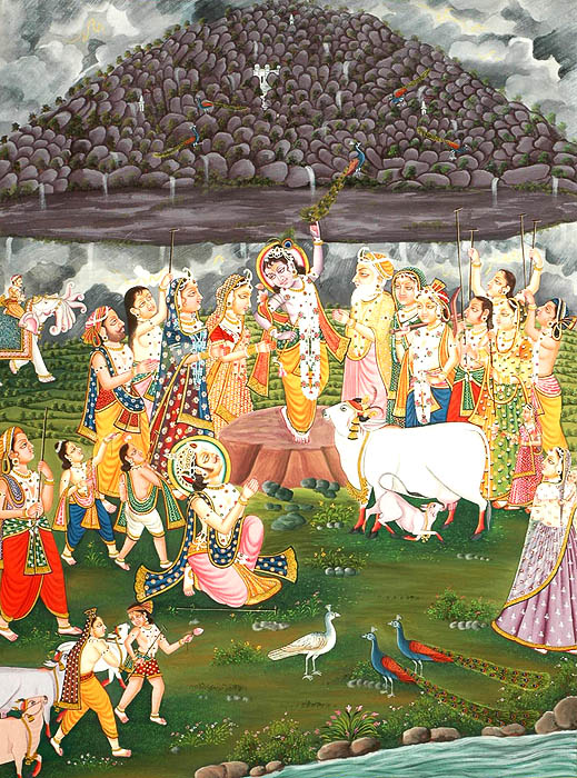 The Gopas Help Krishna Lift The Mount Goverdhana by Using Their Sticks as Props