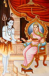Lord Shiva Receiving Alms from Annapurna Devi