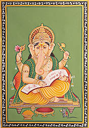 Lord Ganesha Scripting the Mahabharata