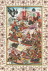 Battle with the Hazars, from the Baburnama