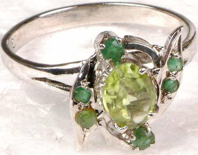 peridot and emerald ring