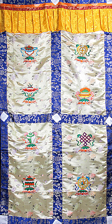 Ashtamangala (Eight Auspicious Symbols of Buddhism, Tib. bkra shis rtags brgyad) - Tibetan Altar Curtain with Hanging Brocade Atop