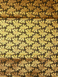 Black Fabric from Banaras with Stylized Flowers Woven All-Over