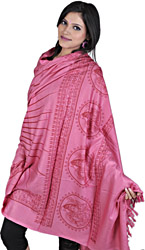 Cashmere-Rose Hindu Prayer Shawl of Shiva Nataraja