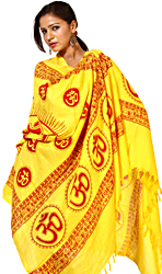 Yellow Hindu Dharma Prayer Shawl with Large Printed Om