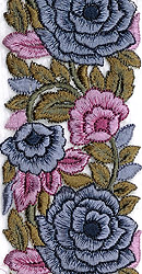 Fabric Border with Embroidered Flowers in Gray and Pink