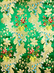 Green Floral Brocade with Golden Thread Weave