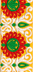 Lemon-Chrome Wide Fabic Border with Embroidered Flowers