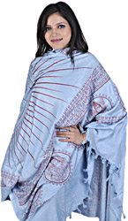 Light-Blue Hindu Prayer Shawl of Dancing Shiva