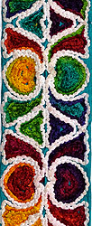 Multi-Color Designer Fabric Border with Embrodered Hearts