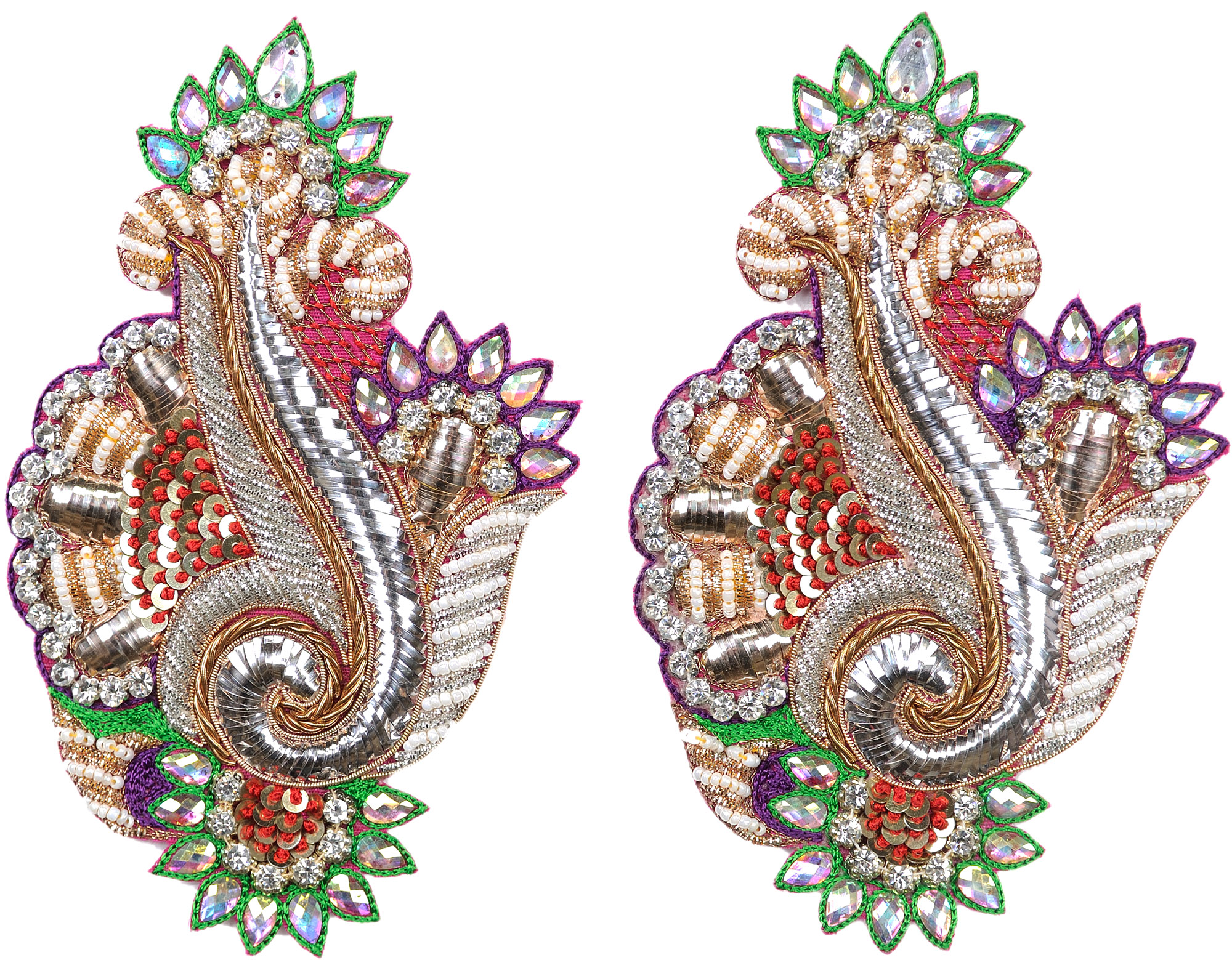 Multicolor Pair Of Designer Floral Patches With Crystals