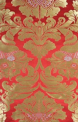 Poppy-Red Auspicious Tibetan Fabric with Golden Thread Weave All-Over