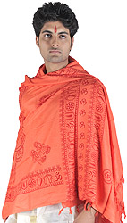 Saffron Prayer Shawl of Radha Krishna