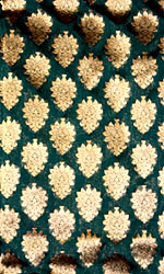 Sea-Green Fabric from Banaras with Floral Vase Woven in Golden Thread