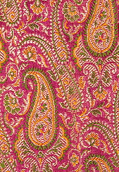 Purple Fabric from Banaras with Paisleys Woven in Golden Thread