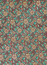 Green Banarasi Brocade Fabric with Woven Flowers