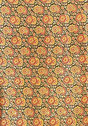 Black Banarasi Brocade Fabric with Woven Flowers