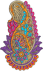 Multi-Color Large Embroidered Paisley with Sequins Cutwork
