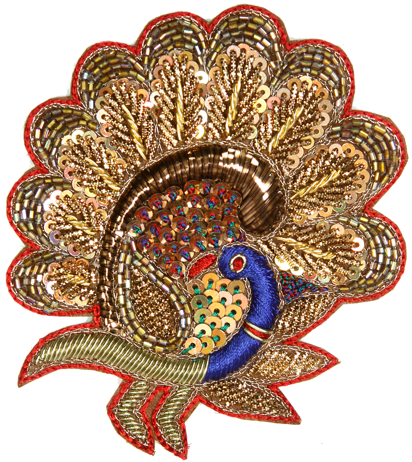 Multi color embroidered peacock patch with zardozi work