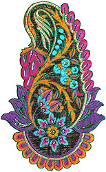Multi-Color Large Embroidered Paisley Patch with Sequins and Cutwork
