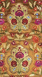 Pale-Gold Brocade Fabric with Woven Roses and Zari Weave