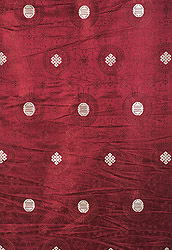 Maroon Banarasi Fabric with Woven Tibetan Endless Knot and Chinese Shou Symbol