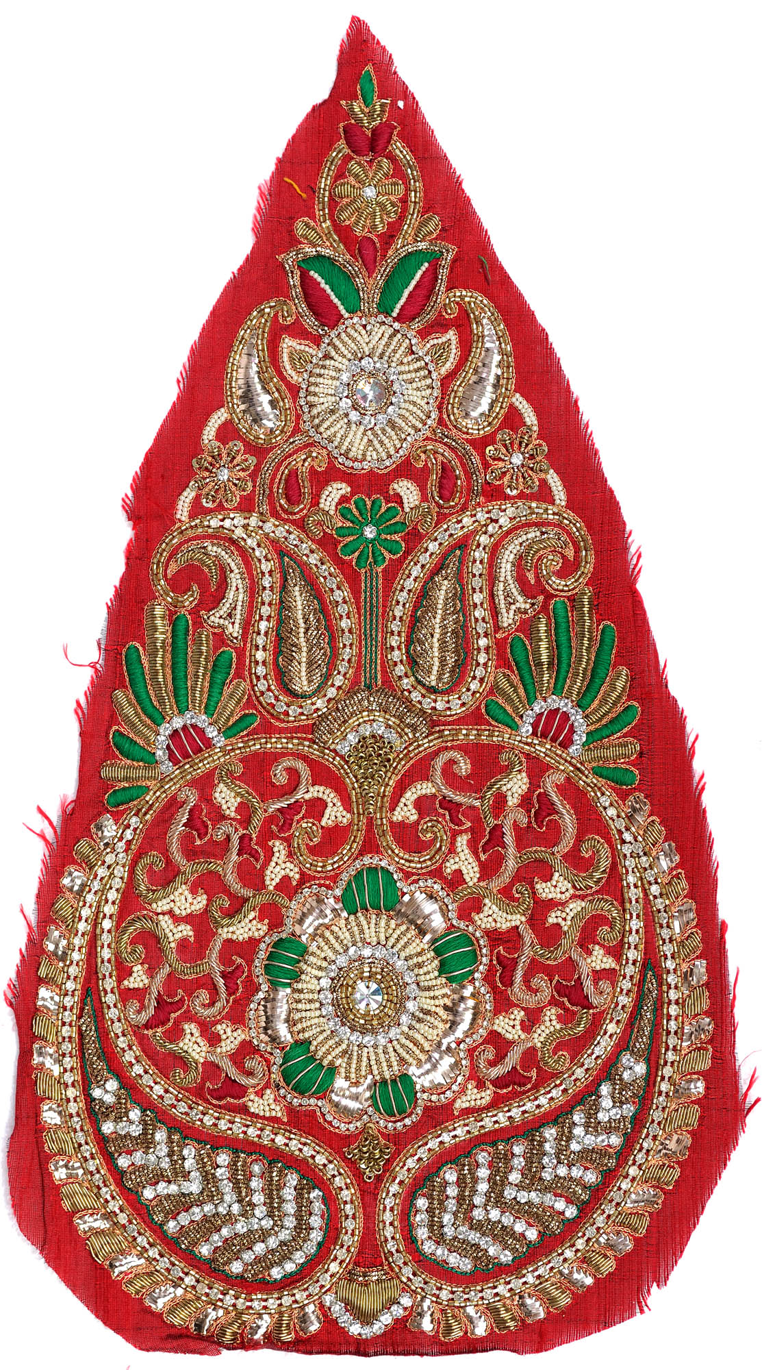 Pompeian red long embroidered paisley patch with zardozi