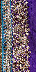 Fabric Border with Metallic Thread Emroidery and Crystals