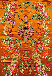 Golden-Mustard Brocade Fabric from Banaras with Woven Flowers and Leaves