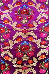 Purple Banarasi Brocade Fabric with Woven Flowers and Zari Weave by Hand