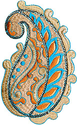 Golden and Blue Cutwork Paisley Patch