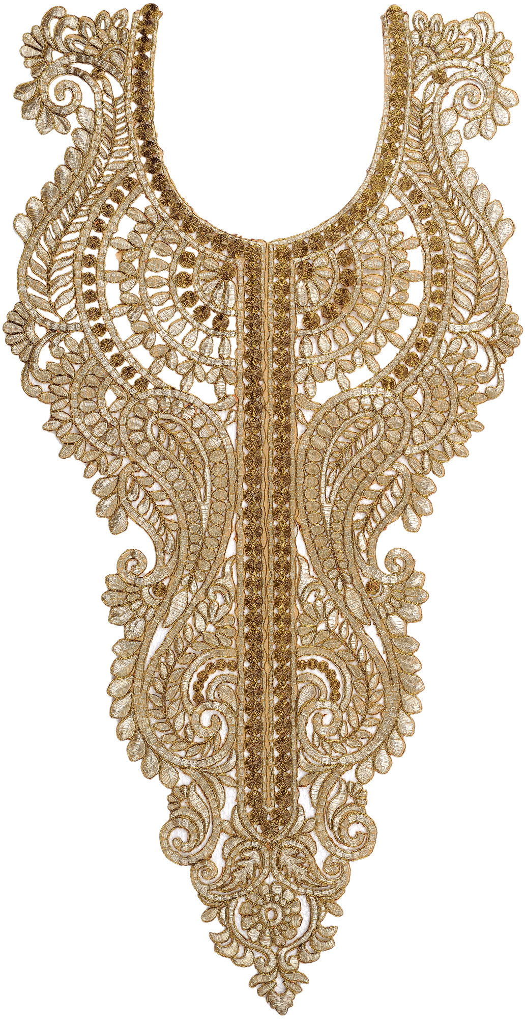 Golden embroidered kurti neck patch with metallic threadwork Fashion embroidery designs