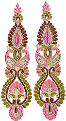 Pair of Tri-Color Cutwork Floral Patches