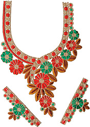 Kurti Neck Patch with Embroidered Flowers and Leaves