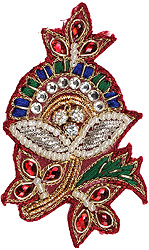 Rio-Red Floral Embroidered Patch with Stone-wrok