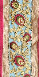 Floral Wide Border with Embroidered Peacock-Wings and Sequins